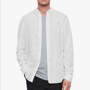 ALLSAINTS Linen White Button Up Shirt Top M